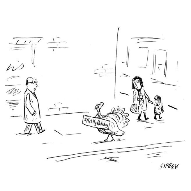 New Yorker, afternoon of November 23, 2016. GO VEGAN!